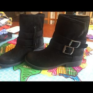 New With Tags Merona faux suede fur black boots